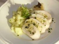 calamaro farcito con mousse di salmone e brunoise di verdure